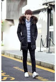 male cryogenic down coat solid slim hooded winter jacket men heavy hair collar medium long outerwear