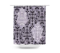 black white damask shower curtain vinyl anti bacterial