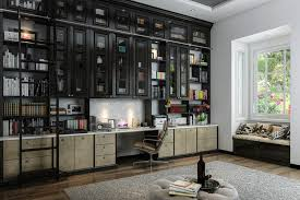 built in home office. home office with custom builtin bookshelves spanning entire wall built in