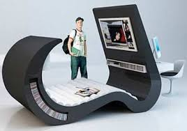 The Fabulous Modern Unique Computer Desk Combines With A Very Cozy Laying  Place To See A Great Movie There