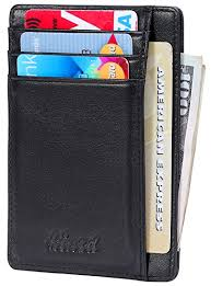Slim Wallet RFID Front Pocket Wallet Minimalist Secure Thin Credit Card  Holder (One Size,