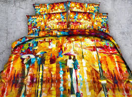 art colorful painting 3d printed bedding sets twin full queen king cal king dovet cover set pillow shams yellow orange comforter set bedroom 3d people