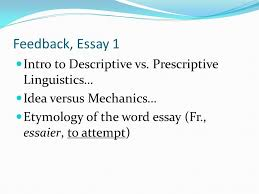 feedback essay peer response essay summary analysis ppt  feedback essay 1 intro to descriptive vs