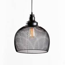 industrial look lighting. Black Iron Hanging Mesh Cage Pendant With Vintage Bulb Rustic, Industrial Look For Home Or Lighting L