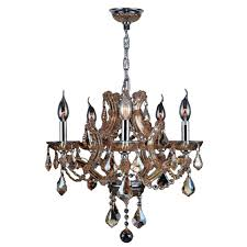 worldwide lighting lyre collection 5 light polished chrome with amber crystal chandelier