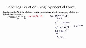 solve log equation using exponential form