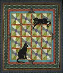 """Quilt Inspiration: Free pattern day: Cat and Dog quilts! & Art Nouveau Cats quilt, 50 x 50"""", free pattern by Marinda Stewart for  Michael Miller Fabrics (PDF download) Adamdwight.com"""