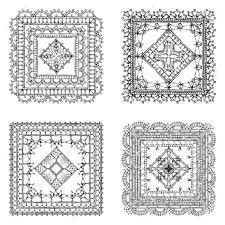 Filet Crochet Patterns Adorable Vector Set Of Lace Crochet Square Ornaments Sketch Filet Crochet