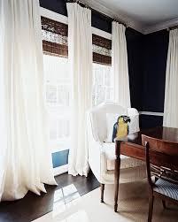 wood roman shades. Ashley Putnam Via Lonny Black Walls White Linen Drapes Woven Wood Blinds Roman Shades