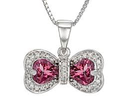 pink tourmaline sterling silver bow pendant with chain 1 39ctw fgh009 jtv com