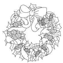 Holly And Candy Wreath Coloring Pages Hellokidscom
