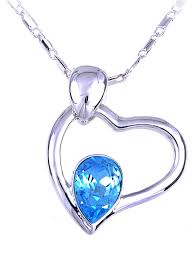 loading zoom swarovski crystal elements aquamarine blue heart with teardrop pendant necklace