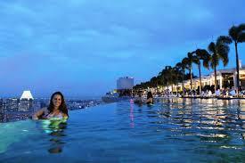 Modren Infinity Pool Singapore Night Marina Bay Sands With