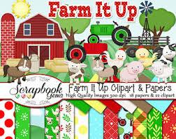 farm barn clip art. Farm It Up! Clipart \u0026 Papers Kit, 22 PNG Files, 18 JPEG Barn Clip Art T