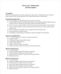 Dishwasher Responsibilities Resume