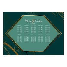 Emerald Green Gold Geometric Marble Seating Chart