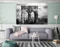 extra large rustic urban canvas original art cityscape bw rustic original oil on extra large wall art nz with brooklyn bridge extra large rustic urban canvas art print up