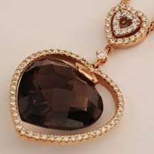 pendant with double rolo link chain in 18 kt rose gold with brilliant cut diamonds for 0 71 ct colour h clarity vs and heart cut smoky quartz with