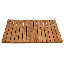 bathroom shower mat in natural teak