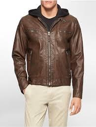 calvin klein faux leather hooded moto jacket