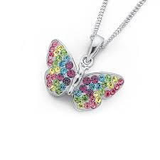 silver multi colour crystal erfly pendant