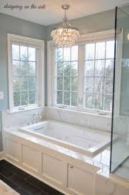 chandelier bathroom lighting. Master Bath, Marble Tile, SW Rain, Crystal Chandelier, Tile That Looks Like Hardwood, Wainscoting Tub Chandelier Bathroom Lighting N