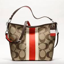 Lyst - Coach Hamptons Weekend Signature Stripe Shoulder Bag in Orange