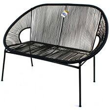 string rattan 2 seater bench sofa moon love seat indoor outdoor steel frame legs