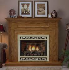 dvd36fp direct vent fireplace with optional aged brick liner installed in a dark oak