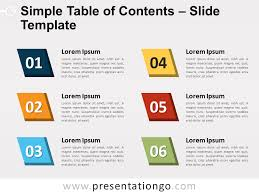 Simple Table Of Contents For Powerpoint And Google Slides