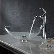 kraus crystal clear glass vessel sink and ventus faucet