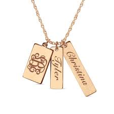 monogram and name three charm pendant in 14k rose gold 3 initials and 2 names