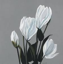 white flower painting art artist gray large black and fl paintings