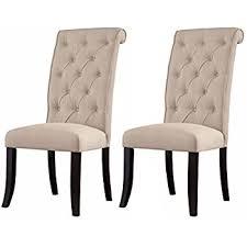 ashley furniture signature design tripton dining room side chair set upholstered vine cal set of 2 linen