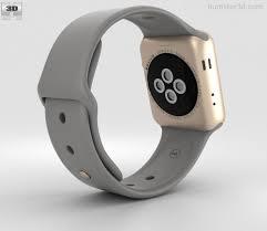 apple watch series 2 38mm. apple watch series 2 38mm gold aluminum case concrete sport band 3d model