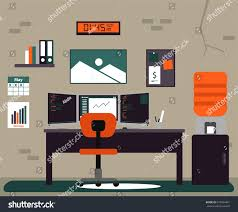 color scheme for office. Programmer Flat Workspace Office Illustration With Multiple Monitor In Unique Color Scheme For C