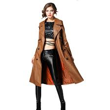2019 pu outerwear long leather trench coat women 2018 new autumn winter leather trench coat slim female long coats plus size m 3xl from pattern68