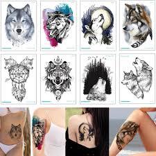 черный свирепый волк временные татуировки наклейки боди арт рисунок луна рев