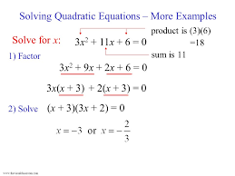 solving quadratic equations more examples