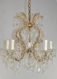 antique venetian crystal five arm chandelier light fixture