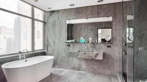 Grey Bathroom Ideas Alcove Bathtub Doubled Shower Area Oval White ...