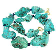 valentin magro large turquoise nuggets and lapis lazuli cubes statement necklace at 1stdibs