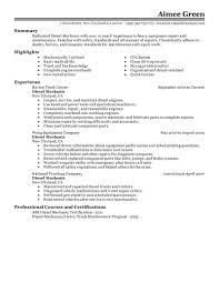 Diesel Mechanic resume example