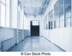hallway at school. empty hallway in school at