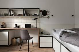 03 box shaped shelves feature additional lights and next to the dining table desk theres a platform bed 775 517