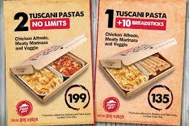 tuscani pasta en alfredo meaty marinara or veggie