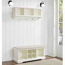 Wall Coat Rack With Storage Decor Scandinavian Entryway With White Wooden Storage Bench And 63