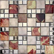 rs48028 leave patern glass mix stainless steel mosaic