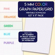 Colored 5 Mm Graph Grid Paper Printable Us Letter Size Pink Etsy