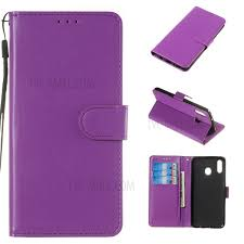 solid color leather wallet stand phone case cover for samsung galaxy m20 purple 1